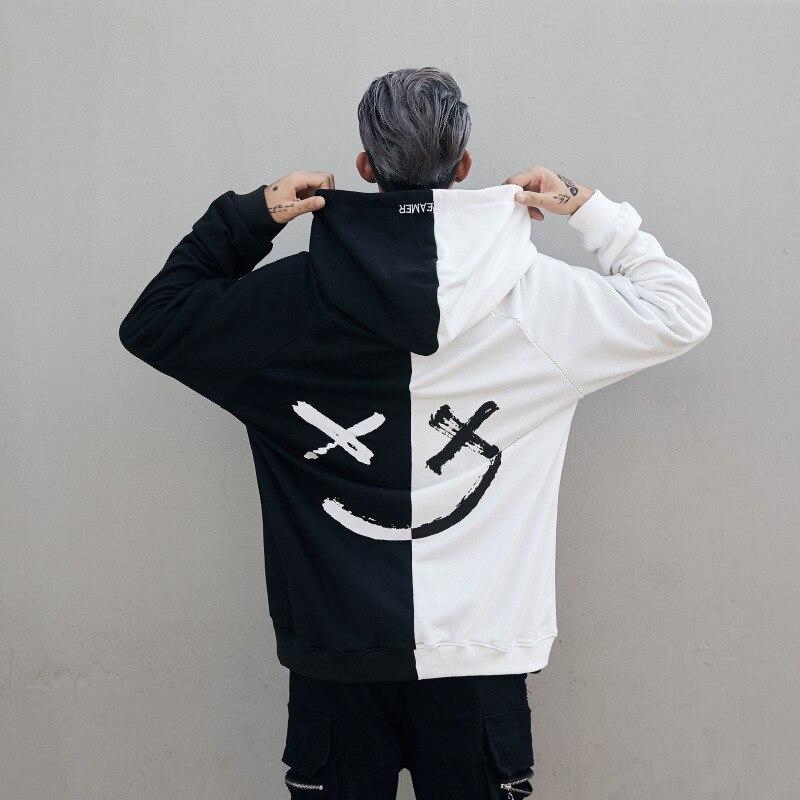 Erkek Kıyafeti'ten Kapşonlu ve Kapşonsuz Svetşörtler'de Dropshipping Tedarikçiler Abd Erkekler Hoodies Tişörtü Gülümseme Baskı Şapkalar Hoodie Hip Hop Streetwear Giyim Abd boyutu S XL'da  Grup 1