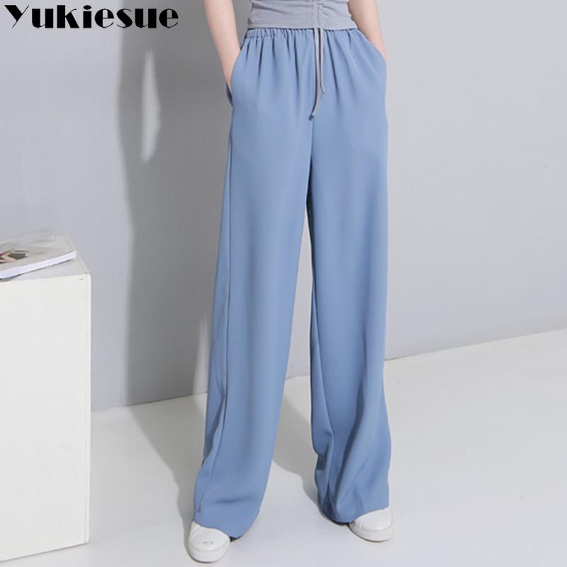 Wide leg pants capri women trousers for women loose elastic high waist straight pants solid OL office women's pants straight