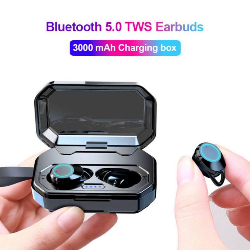 Écouteurs sans fil extérieurs 5.0 Bluetooth 3D basses profondes IPX7 écouteurs sans fil avec batterie externe 3000 mAh pour IOS Android