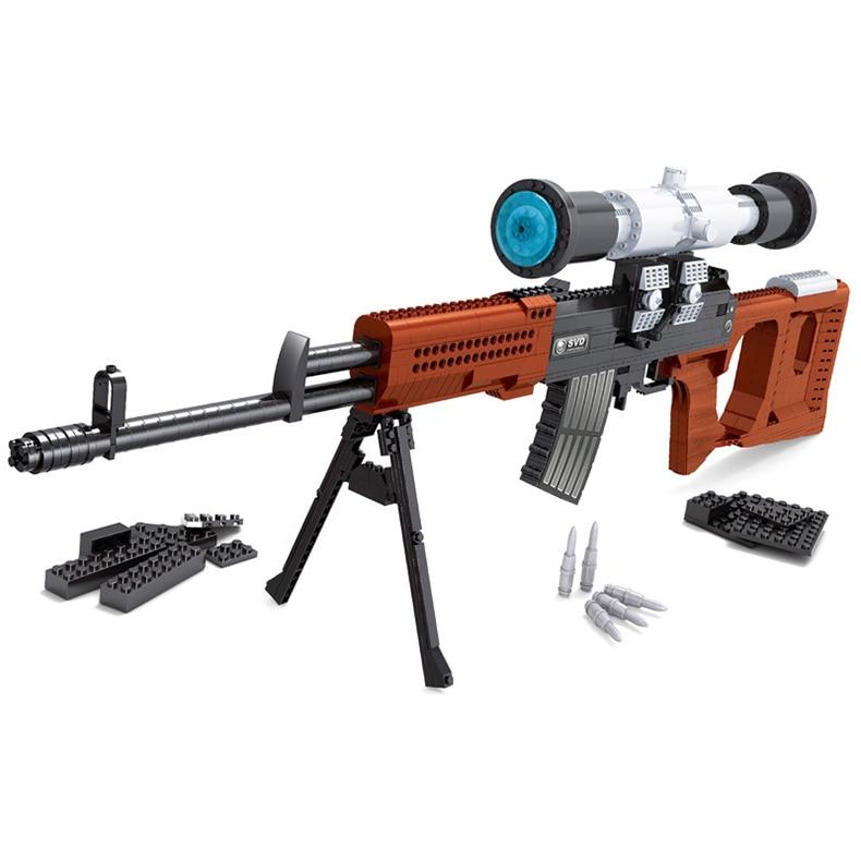 712 PCS DIY Nerfs Elite Gun SVD Sniper Rifle Gun Toy Gun Model Building Block Set Plastic Toy Gift For Children