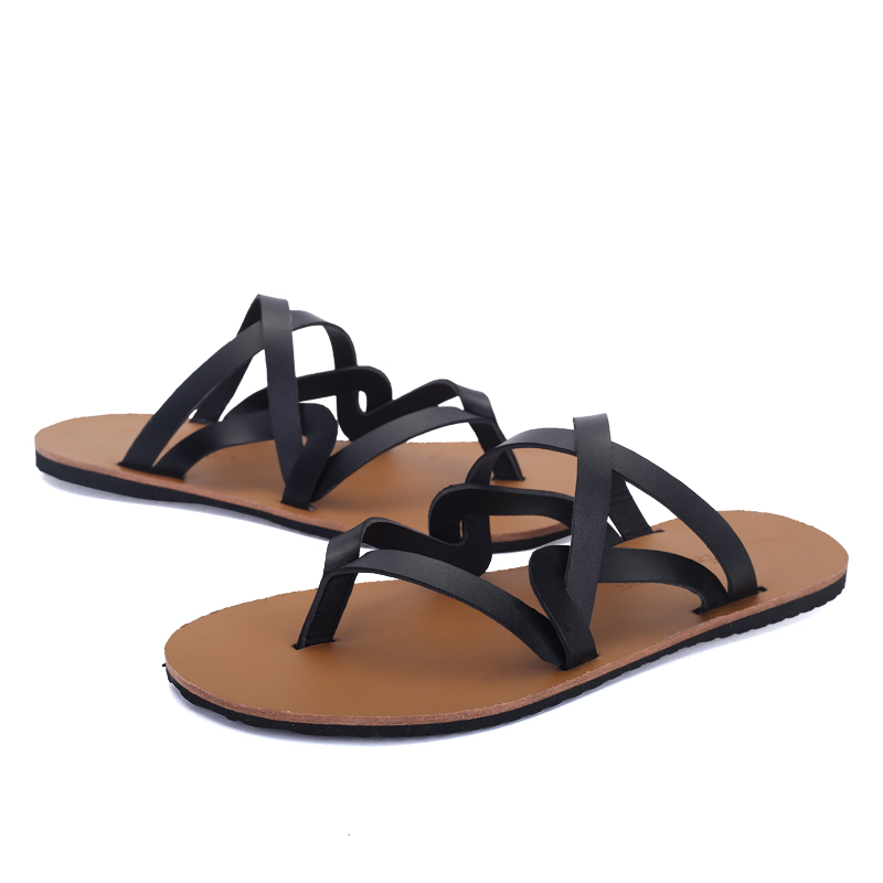 c8660a88009 Urban Fashion Stylish Quality Leather Gladiator Sandals Mens Flip Flops  Shoes Roman Style With Narrow Bands Summer For Tide Boys-in Men s Costumes  from ...