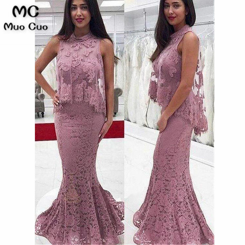 Modest Mermaid Evening Dresses Long With Lace Appliques Sleeveless Prom Dresses Prom Party Dress Evening Dress