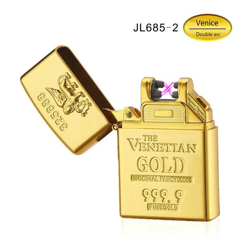 En Alliage de Zinc Shell Creative Or Brique Briquets Courant Double Arc D'allumage Briquets Charge USB Cigarette Électronique Briquet