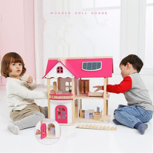 Pink Princess Doll House Villa Wooden Cabin DIY Puzzle Assembly Toys for Children Christmas Birthday Gifts