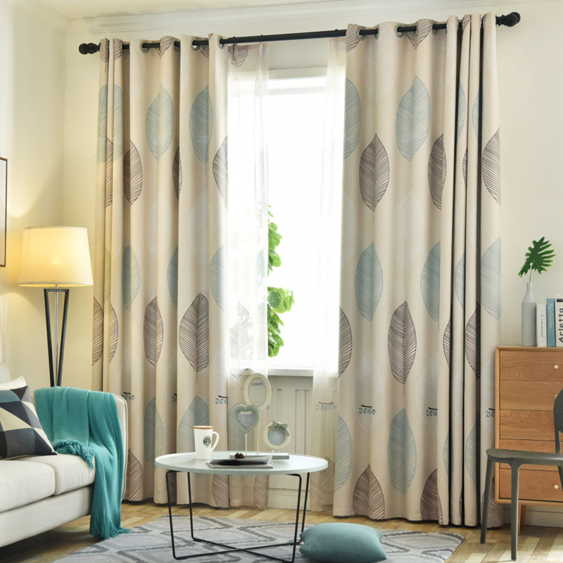 [byetee] Shading Curtain Cloth Window Yarn Modern Bedroom Living Room Maple Leaf For Blackout Fabric Livingroom Curtains