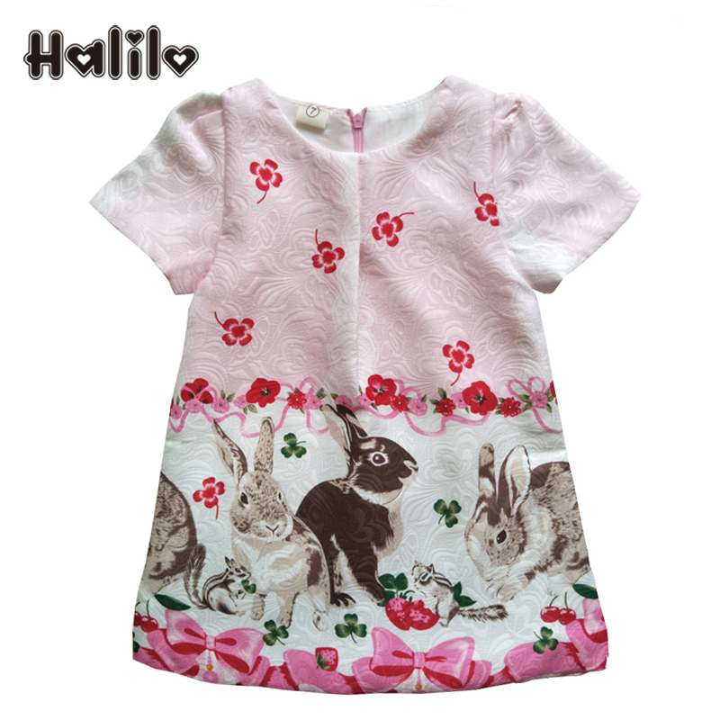Halilo New 2019 Dívky Formální šaty Kreslené květinové tisk Batošní šaty Dětské děti Šaty pro dívky Letní dětské oblečení