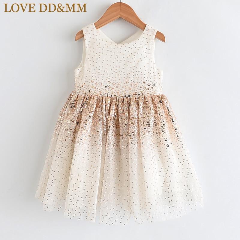 LOVE DD&MM Girls Dresses 2020 Summer New Childrens Wear Girls Fashion Gradient Sequins Mesh Sleeveless Sweet Princess DressDresses   -