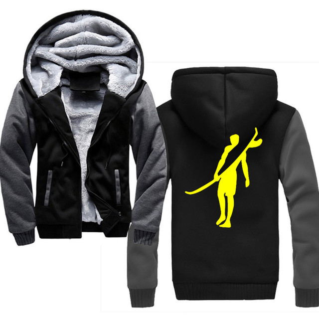 Surf Sports 2019 Winter New Tracksuit Men Fashion Thicken Velvet Casual Hooded Warm Thick Hoodie Solid