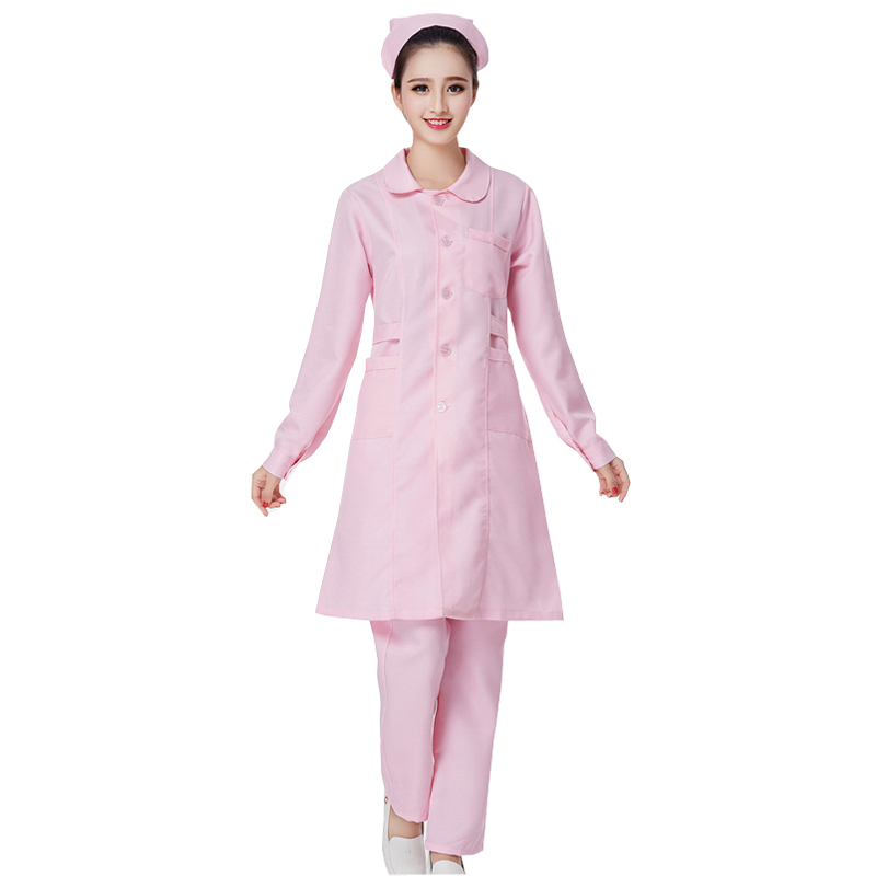 Women Pink Nurse Uniform Hospital Medical Clothes Services Uniform Slim Fit Nurse Uniform Nursing Clothes U012