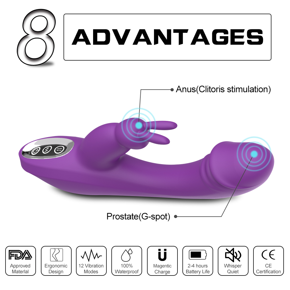 G-spot Rabbit Dildo Rechargeable Vibrator Clit Stimulator Quiet Sexy Toy