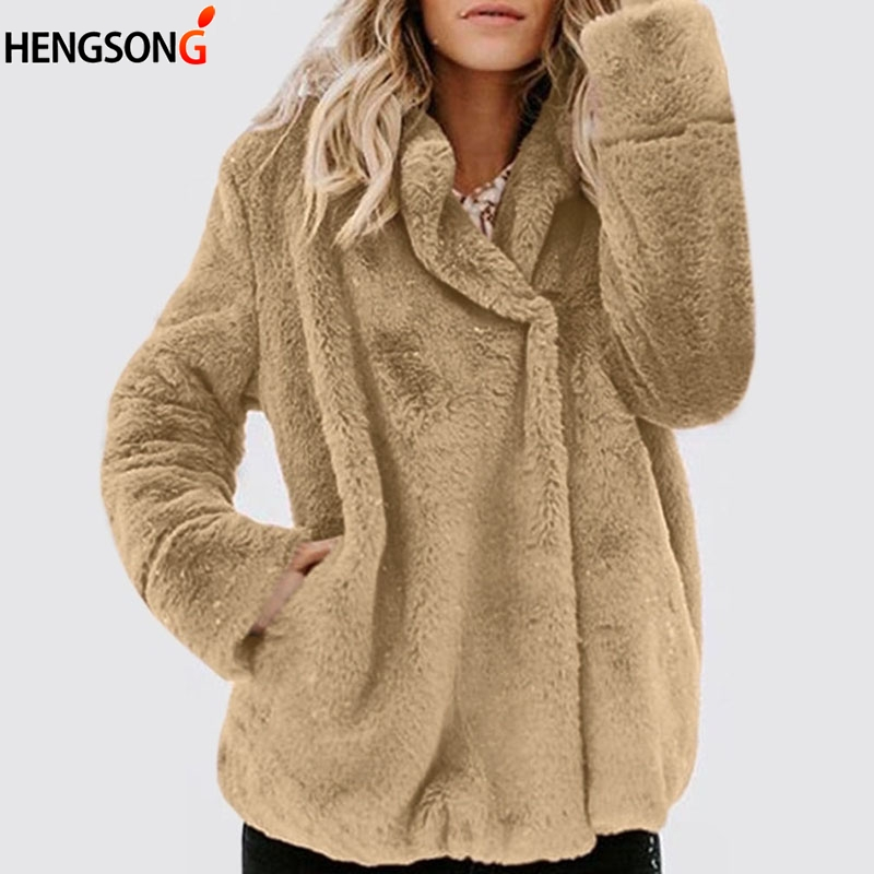 Hiking Jacket Coat Outerwear Winter Women Casual Warm Autumn Wool Fur Cardigan Faux-Fur