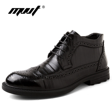 MVVT Genuine Leather Men Boots Oxfords Fashion Winter Shoes Chelsea Snow Business Brogue Man