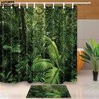 Warm Tour Custom Rainforest Decorative Waterproof Fabric Bathroom Shower Curtains Set 12 Hooks Mildewproof