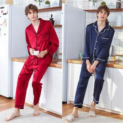 QWEEK шелк для мужчин s пижамы комплекты из 2 предметов атласные Мужская пижама Домашняя одежда 2019 с длинным рукавом высокое качество