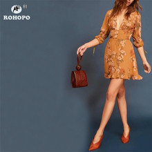ROHOPO Autumn Floral Vintage Elegant Orange Dress Three Quarter Sleeve Tunic Ruffles Ladies Printed #YY039H