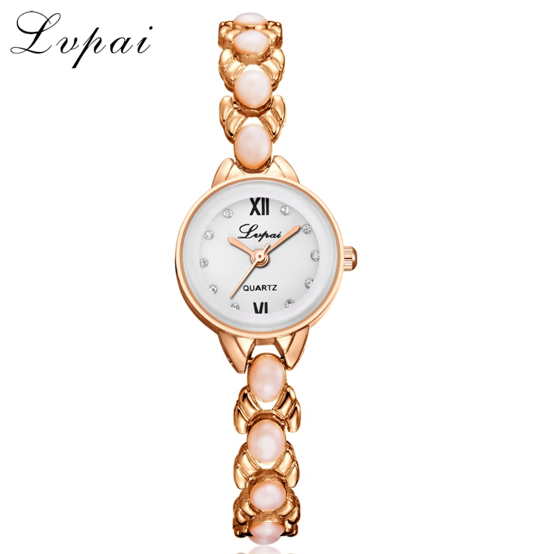 Lvpai Top Brand Women Fashion Luxury Watch Rose Gold Quartz Ladies Wristwatch Women Pearl Bracelet Watch Dress Gift Watch LP206