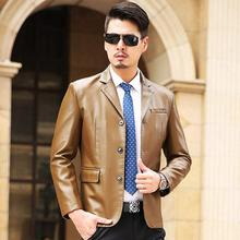 M-3XL 2016 autumn men's PU leather jacket great quality fashion brand single breasted leather jacket for bussiness men w1683