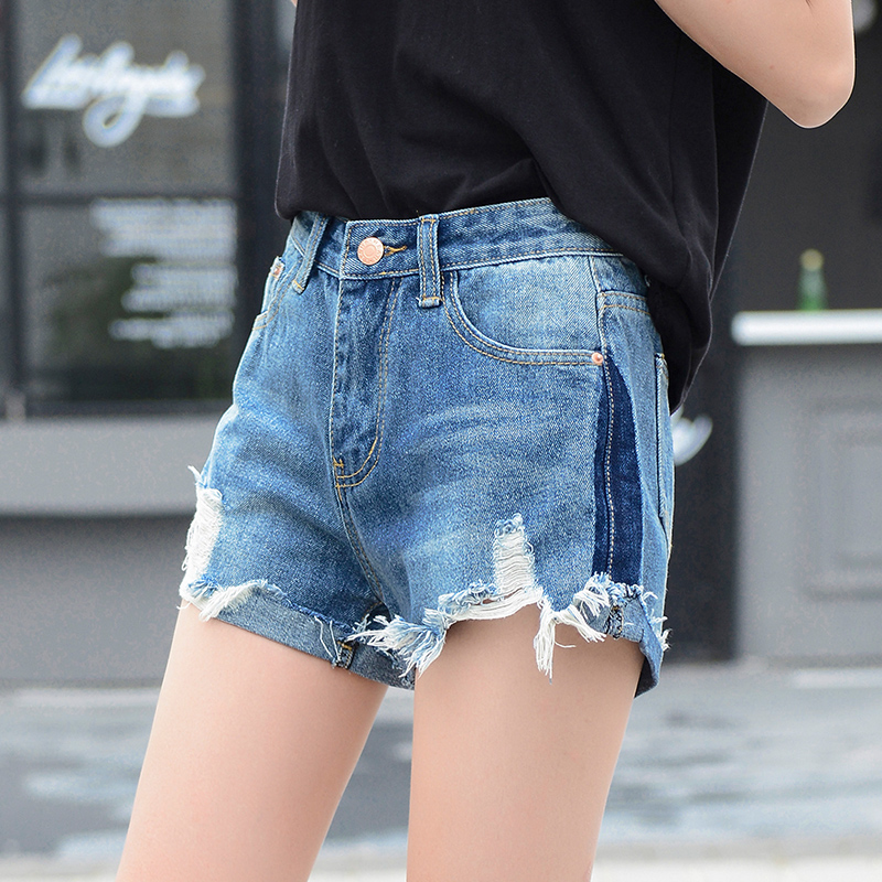 Summer hole denim shorts women Fashion mid elastic waist hemming short jeans Pocket decorate jeans shorts