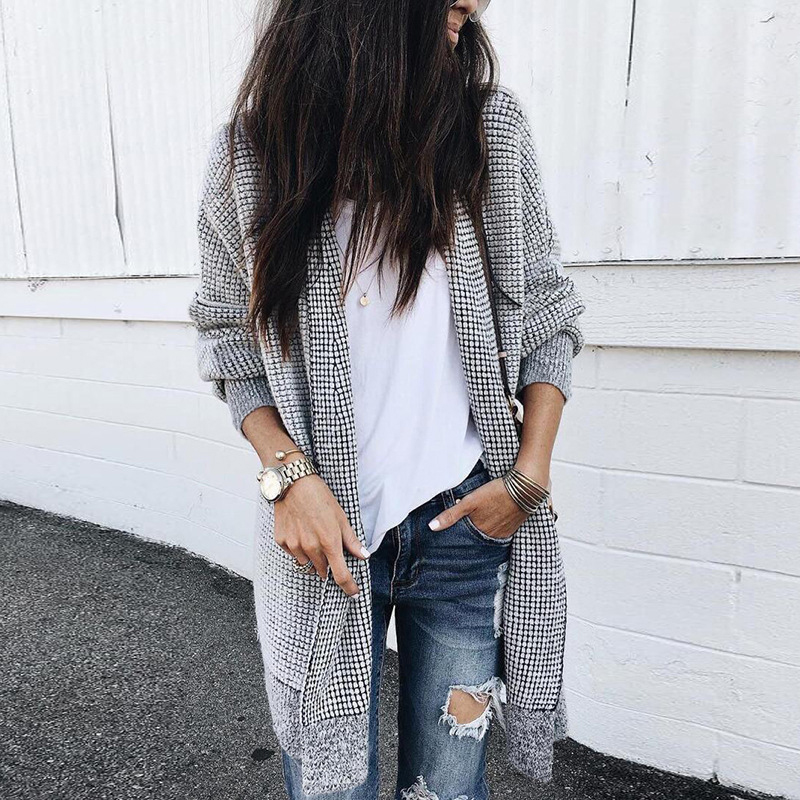 Women Fashion Check Long Cardigan Coat Jacket Ladies Casual Autumn Long Sleeve Coat Outwear Women Tops Black and white grid 3