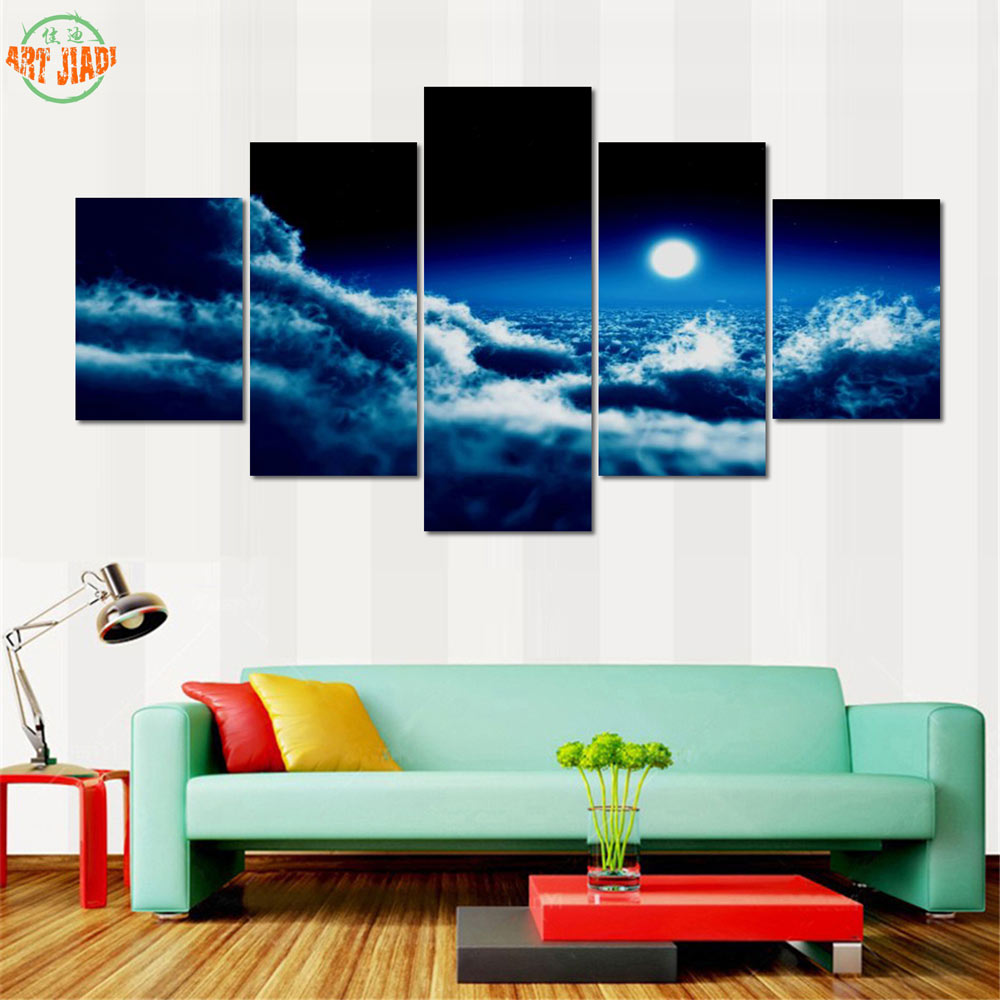 Us 9 68 New 1 3 4 5 Piece Set Canvas Art Cool Moon Canvas Painting Hd Decorations For Home Wall Art Prints Canvas B363 In Painting Calligraphy