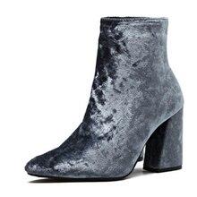 Neue Ankunft Herbst Winter Stiefeletten Streetwear Brand New Schuhe High Top Cord Samt Stiefeletten Bootie Pumpe Block Heels