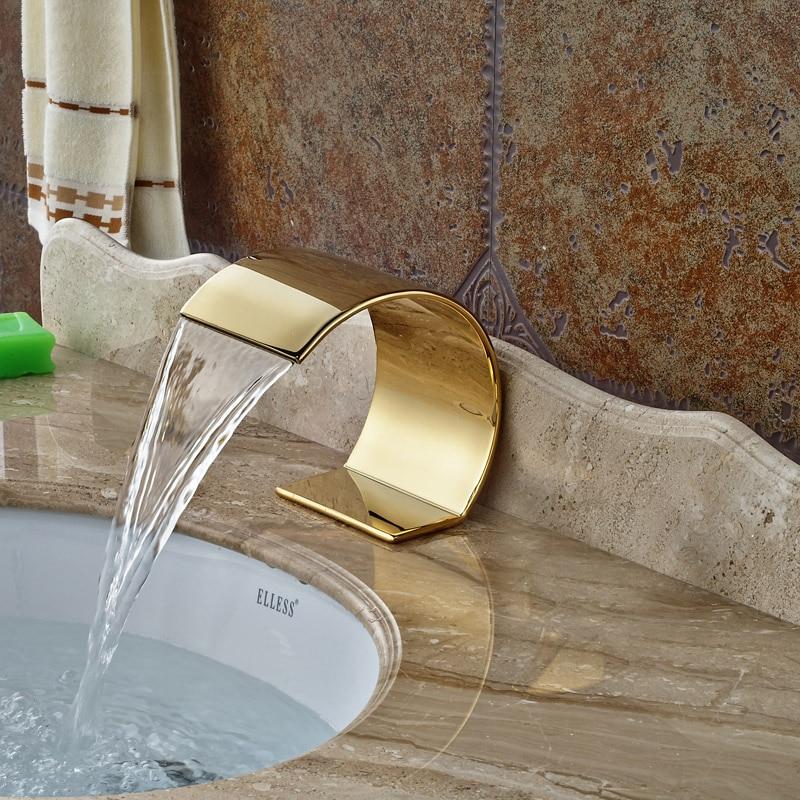 Big C Shaped Design Water Spout Golden Finish Deck Mounted Bathtub ...