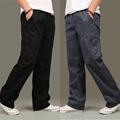 Free shipping Spring loose casual pants male plus size loose Elastic Waist straight tooling male cotton long trousers L-6XL