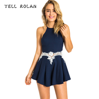 YELL ROLAN 2018 Fashion Women Lace Embroidery Playsuit Summer Beach Party Overall Spaghetti Strap Halter Hollow