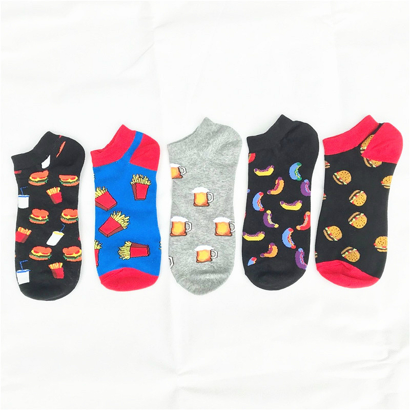 PEONFLY Funny Hamburger Beer Printed Socks Men Cotton Socks Invisible Slippers Male Shallow Mouth Ankle Sock Casual High Quality