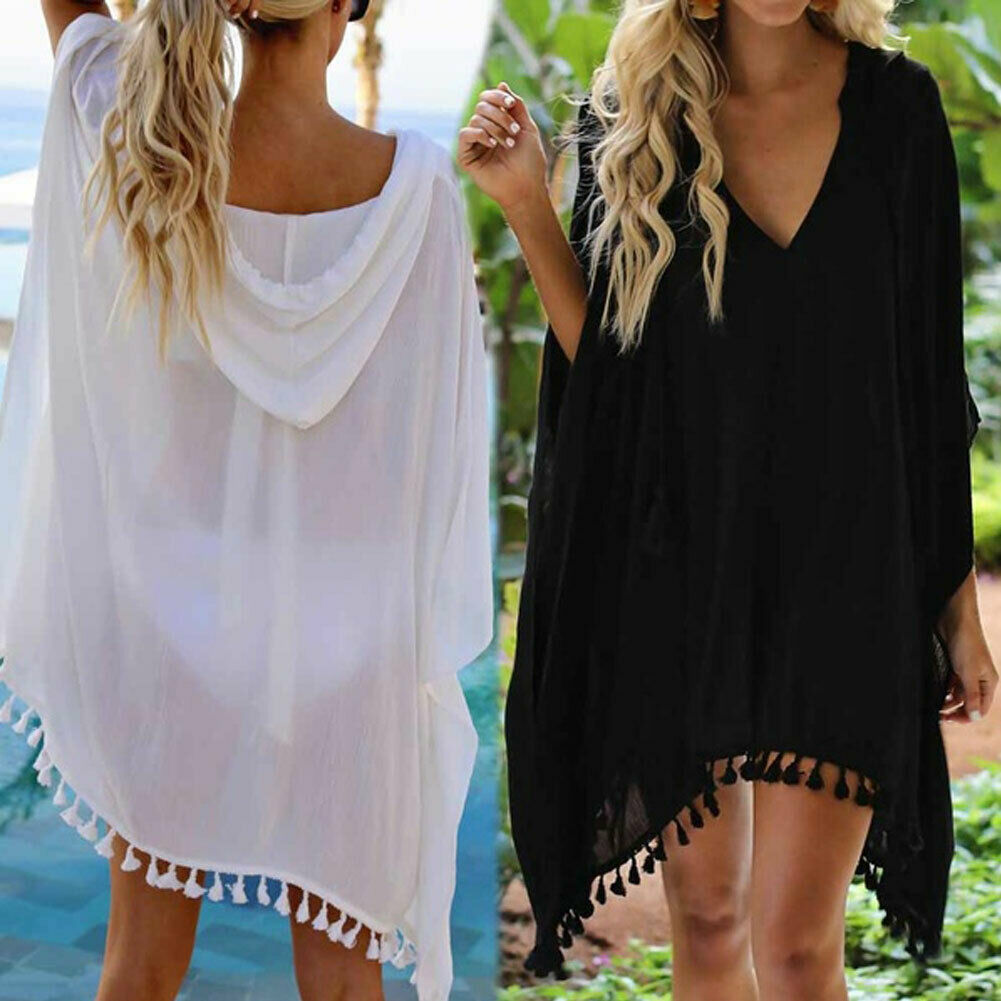 Women Hooded Tassel Swimwear Bikini Cover Up Wear Kaftan Loose Beach Dress Plus Size Solid Chiffon Swimsuit Bathing Suit