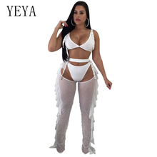 YEYA 3 Piece Set Pearl Beaded Ruffles Women Jumpsuits V Neck Sleeveless Hollow Out Mesh Bodycon Jumpsuit Sexy Club Wear Overalls