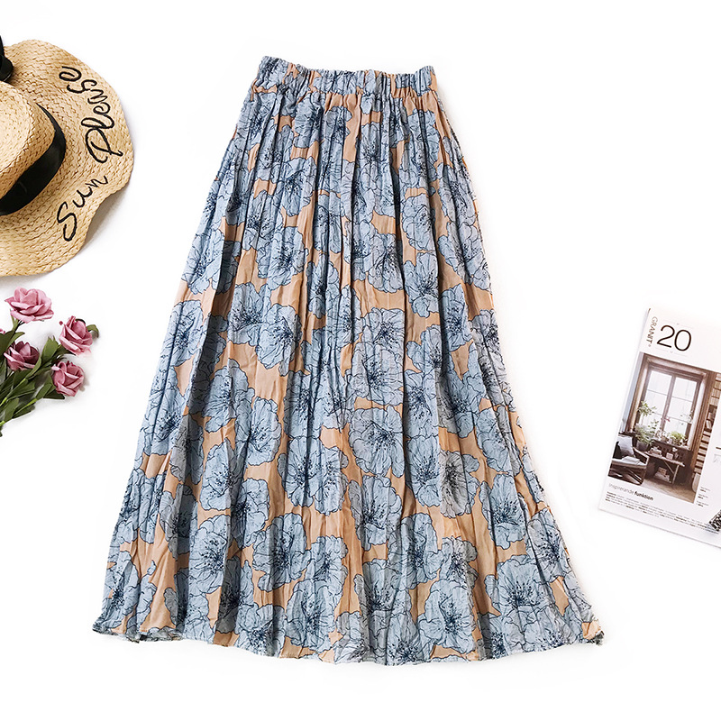 Wasteheart Pink Blue Yellow Flower Printed Women Skirts High Waist Pleated Mid-Calf Skirts A-Line Chiffon Clothing Plus Size