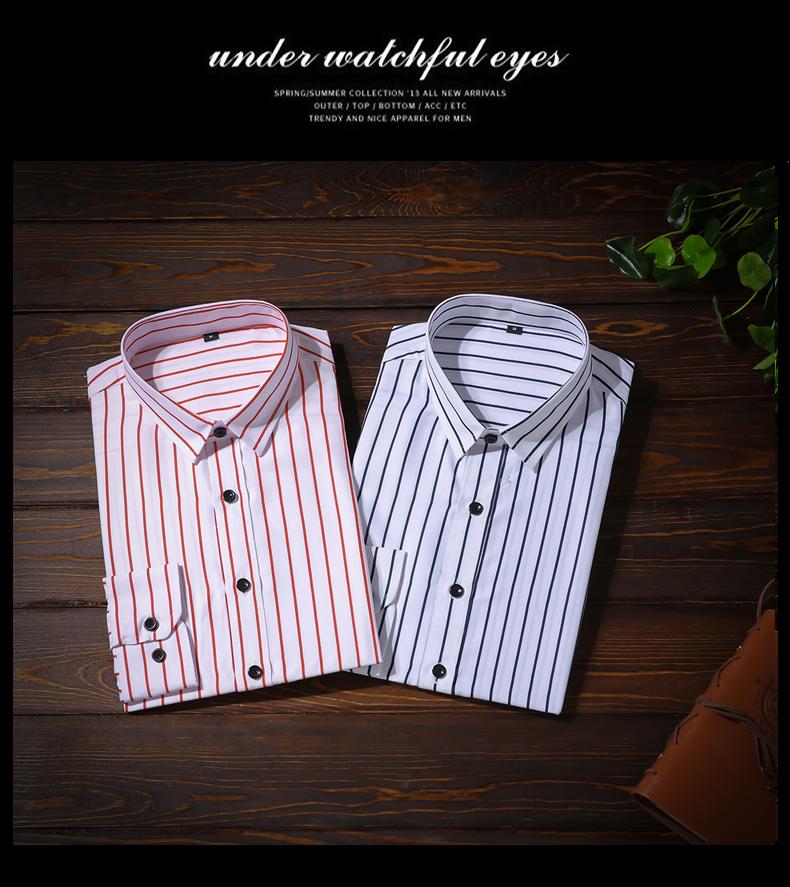 XMY3DWX Men long sleeve shirt male fashion brand new products sell like hot cakes stripe slimming leisure shirt/dress shirt 5XL 7