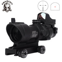 Hot Tactical Acog 4X32 Scope With QD Mount & Mini Red Dot Sight Sniper Riflescope Hunting Shooting Rifle Gun Scope