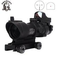 Hot Tactical Acog 4X32 Scope With QD Mount & Mini Red Dot Sight Sniper Riflescope Hunting Shooting Rifle Gun Scope