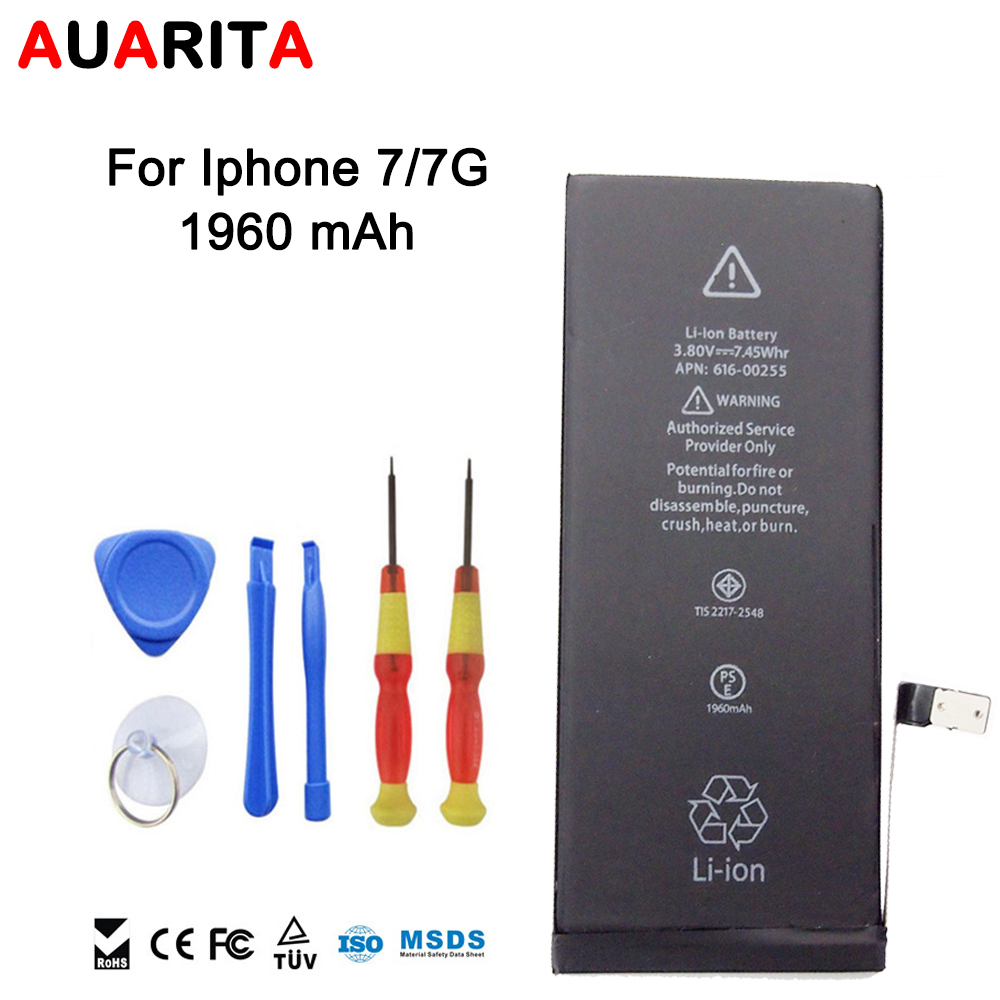 Phone Battery For Apple iPhone 7 7G Real Capacity 1960mAh Free Repair Machine Tools li-ion battery 3.8V whole sale free shipping