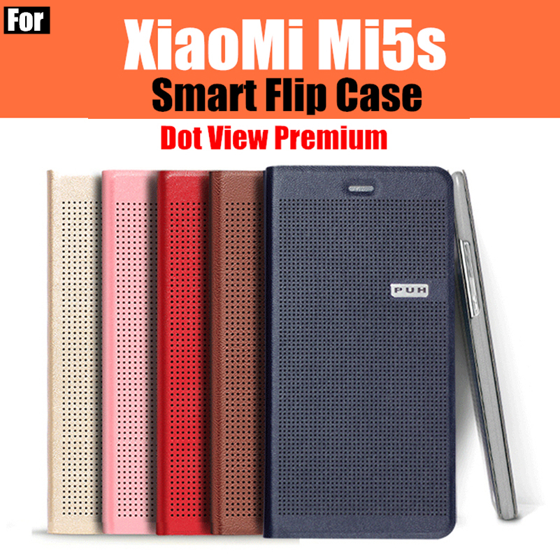 xiaomi mi5s case original catman based on Snapdragon 821 Smart Dot View Premium leather smart flip