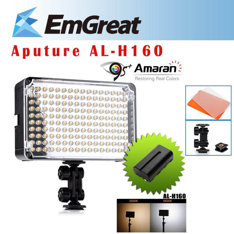 Aputure Amaran AL-H160 CRI95+ 160 PCS LED Video Studio Light Camera Photography Lighting + NP-F550 Rechargeable Battery цена