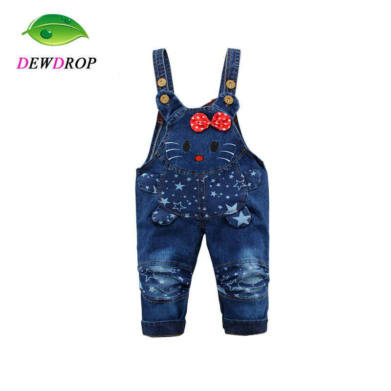 Dewdrop Kids Pants Cartoon Denim Overall For Girl Bib