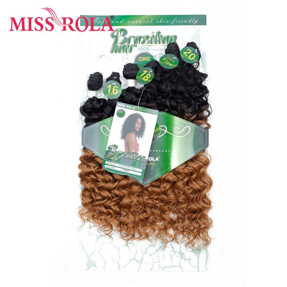 Синтетические вьющиеся волосы Miss Rola для наращивания, Цветные Волнистые пряди для волос 16-20 дюймов 6 шт./упак. 200 г T1B/27 с бесплатным закрытием