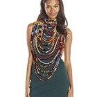 African fabric neckl...