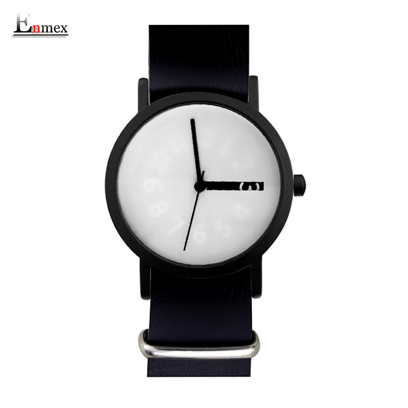 2017 Enmex creative design wristwatch cool handsome girl  Hidden numbers simple fashion Removable soft strap quartz lady watches 2017 gift for lady enmex simple design pure white wristwatch fresh and clean style lovely lady fashion clock quartz watches