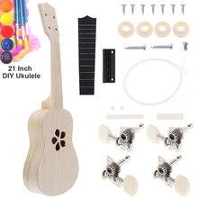 21 Inch Ukulele DIY Kit Basswood Soprano Hawaii Guitar Handwork Painting Ukelele for Parents-child Campaign Children Kids Toy