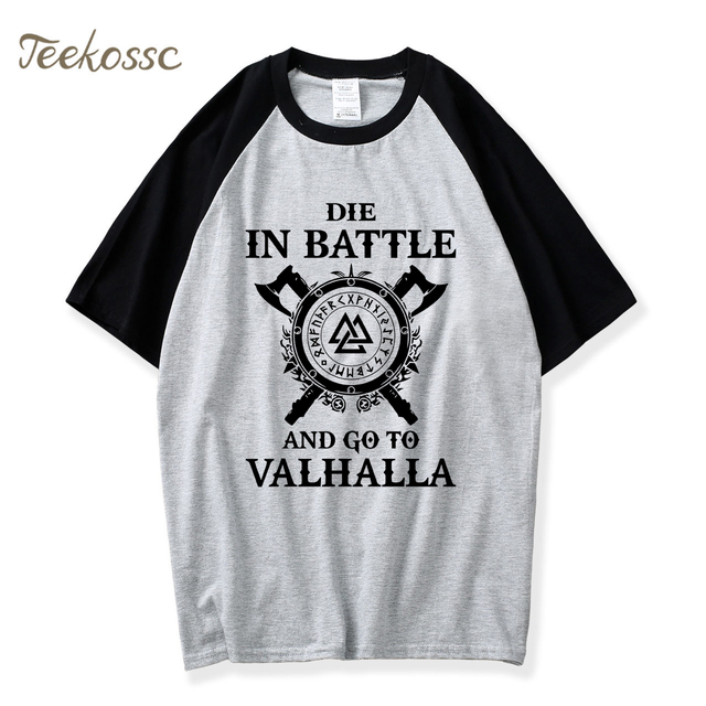 5663a4463 Odin Vikings T Shirt Men Die In Battle And Go To Valhalla Tshirt Summer  Tops T Shirts Son of Odin Viking Berserker T-Shirt Tee