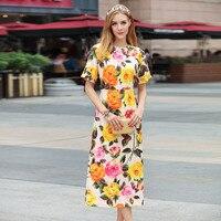 Gelbe Rosen Regenbogen taste 2018 Hohe Qualität Sommer Fashion Runway Kleid Frauen Oansatz Kurzhülse Medium lange Bleistiftkleid