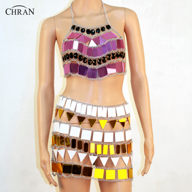 Chran Mirror Perspex Rave Chain Bra Crop Top Halter Body Necklace Metallic EDC Skirt Wear Burning Man Outfit Jewelry CRM801