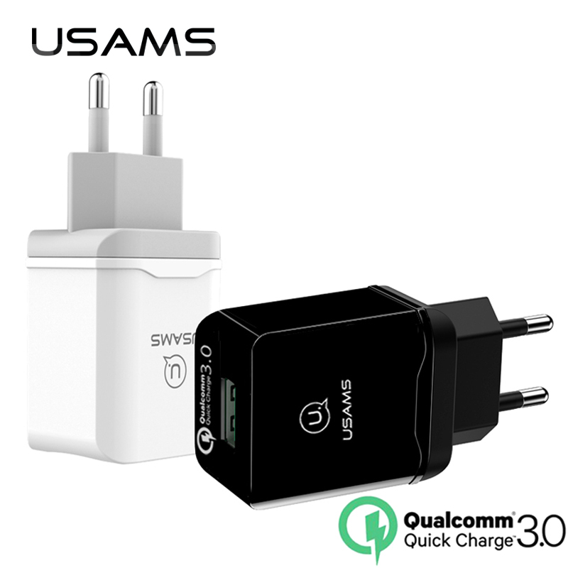 USAMS Fast USB Phone Charger 18W EU Quick Travel Charge Qualcomm 3.0 for Samsung Xiaomi Compatible 2.0 Quick Normal Wall Charger