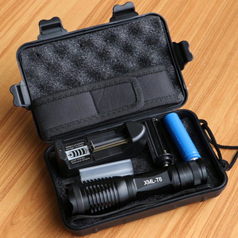 Lanterna Led CREE XM-L T6 Tactical Flashlight 10000Lumens LED Torch Zoomable LED Light+18650 battery+charger+holster+Free box 15000 lumens 9x cree xm l t6 led flashlight torch tactical hunting 18650 torch