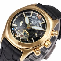 WINNER Men S Watches Luxury Automatic WristWatches Mechanical Tourbillon Skeleton Black Leather Watchband Sub Dial Date