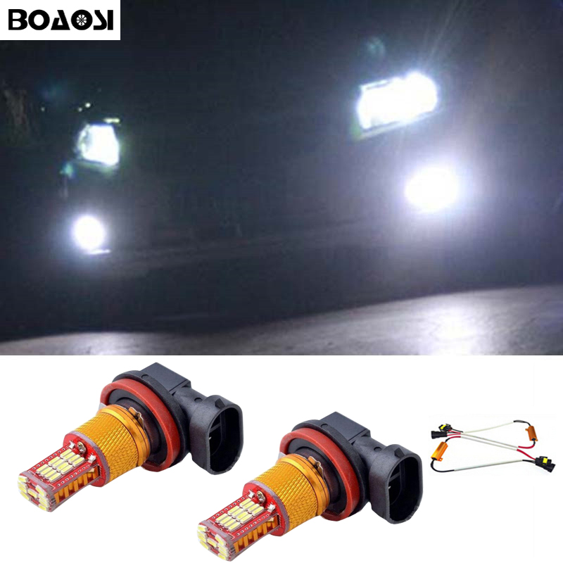 BOAOSI 2x Super White H8 H11 CREE Chip 4014SMD LED Fog Light Driving Bulbs for Skoda Octavia 2010-2014 Car Styling 2x led h11 h8 h9 h11 no error decoder 80w with cree chip car bulb light fog lamps drl headlights for bmw 3 e90 e92 x5 2002 2010